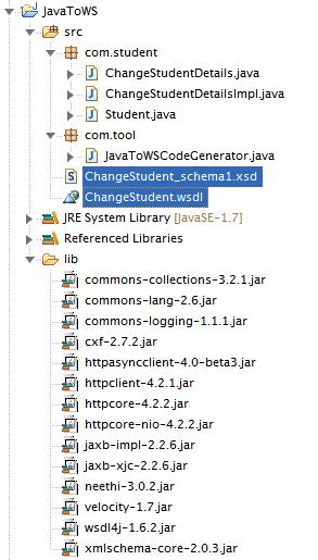 CXF java2wsdl Example