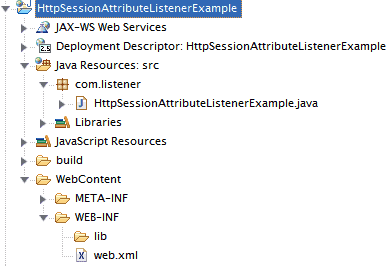 HttpSessionAttributeListener Example
