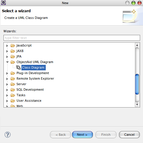 Generate class diagram using eclipse objectaid configuration ccuart