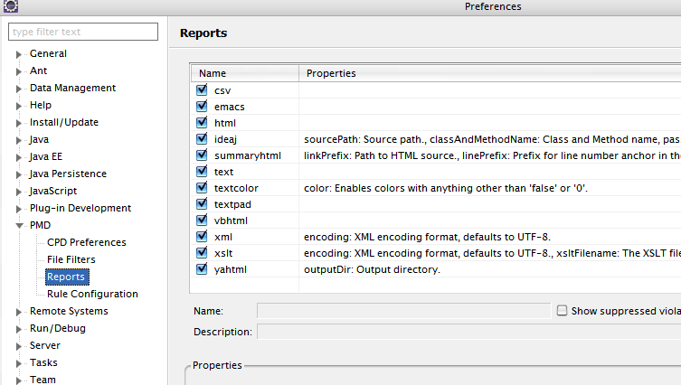 Select PMD Reports