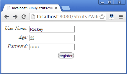 Struts 2 Validation Example